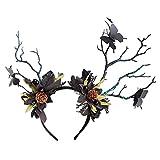 Minkissy Venado Astas Flor Vinchas Vintage Mariposas Rama Alce Cuerno Diadema Diadema Ciervos Astas Accesorios de La Foto para Halloween Navidad