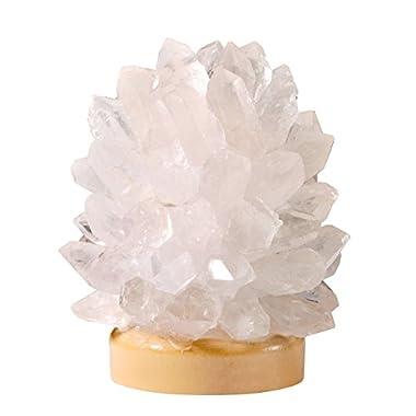 JOVIVI Raw Natural Rough Quartz Cluster Druzy Crystal Points LED Light USB Lamp on Wood Base Decor