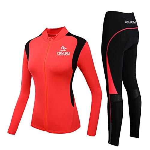 LRZ Fahrradbekleidung Anzug Jersey Damen Winter Thermovlies Langarm Mountainbike Rennrad Shirt Gepolsterte Hose,M