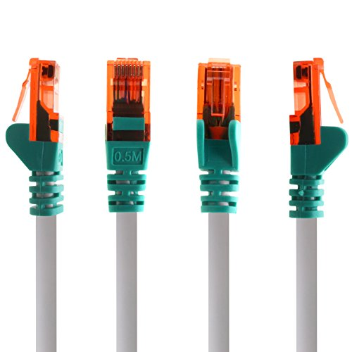 1aTTack.de Netzwerkkabel Cat6 0,25m - Crossover - 1 Stück CAT.6 Computer Kabel LAN Ethernet Gigabit Cat 6 Netzwerk Patchkabel 1000 Mbit s RJ45 Stecker