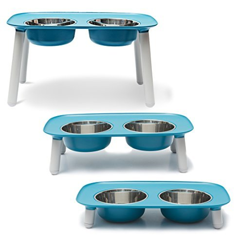 Messy Mutts Elevated Double Dog Feeder with Removable Stainless Steel Bowls and Adjustable Leg Heights, 40 oz / 5 Cups per Bowl