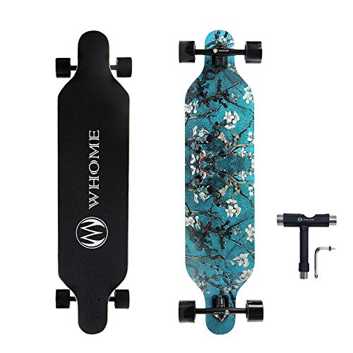 WHOME Skateboard Complete for Adults and Beginners - 41 Inch Longboard for Hybrid Freestyle Carving Cruising 8 Layer Maple Top Mounted ABEC-9 Precision Bearings Smooth PU Wheels Includes T-Tools