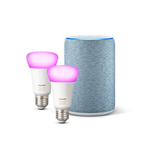 Amazon Echo (3.ª generación), tela de color añil + Philips Hue White & Color Ambiance Pack de 2 bombillas LED inteligentes, compatible con Bluetooth y Zigbee, no se requiere controlador