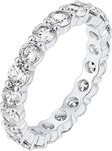 PAVOI 14K White Gold Plated Cubic Zirconia Rings | 3.0mm Eternity Bands | White Gold Rings...