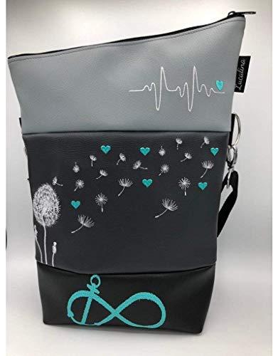 Handtasche Pusteblume mit Herzen Tasche Foldover Schultertasche