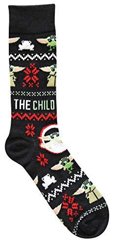 Star Wars Baby Yoda Ugly Sweater Pattern Men's Crew Christmas Socks