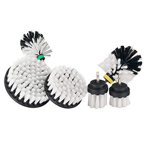 SODIAL Cepillo de Taladro Kit de Limpieza de Herramienta EléCtrica para Limpiar el Piso Sofá de Pared y Otros Cepillo de Taladro EléCtrico MultifuncióN-Blanco