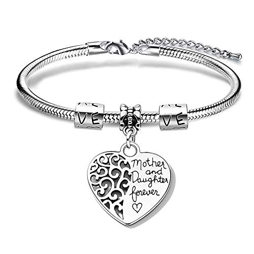 EXGOX Silver Bracelet for Women The Love Between Mother and Daughter is Forever Charming Bracelet Bangle Mum Gift Daughter Gift for Birthday