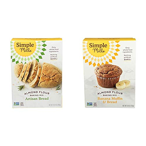 Simple Mills Almond Flour Baking Mix, Gluten Free Artisan Bread Mix & Almond Flour Baking Mix, Gluten Free Banana Bread Mix, Muffin Pan Ready, Made with whole foods, (Packaging May Vary)