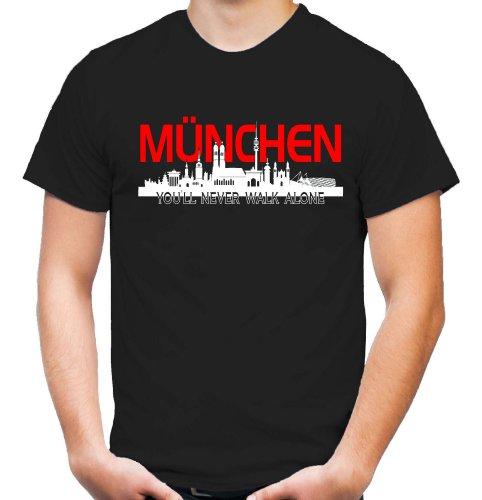 München Skyline T-Shirt | Fussball | Basketball | Bayern | Trikot | Ultras | Männer | Herren | Fanshirt (M)