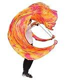 Winged Sirenny 34 Colors 90' Flowy Spinning Silk Veil Poi Playsilk, Practice Tail Flag Scarf Poi Streamer (Sakura)
