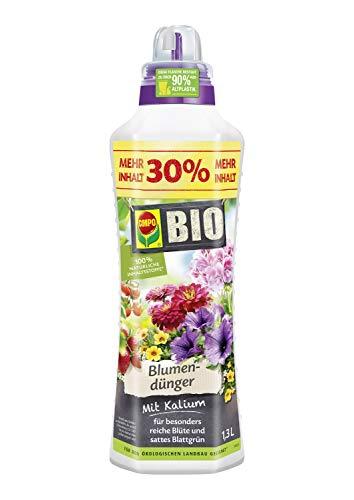 Compo BIO Blumendünger für alle Zimmer-, Balkon- und Terrassenpflanzen, Natürlicher Spezial-Flüssigdünger, 1,3 Liter