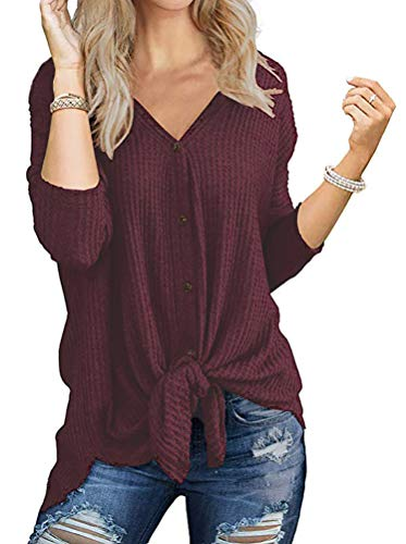 Chvity Womens Waffle Knit Tunic Blouse Tie Knot Henley Tops Loose Fitting Bat Wing Plain Shirts (L, 01-1 Wine Red)