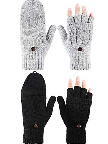 Tatuo 2 Paar Damen Fingerlose Handschuhe Winter Cabrio Handschuhe Strick Halb Finger Handschuhe mit Deckel (Schwarz, Grau)