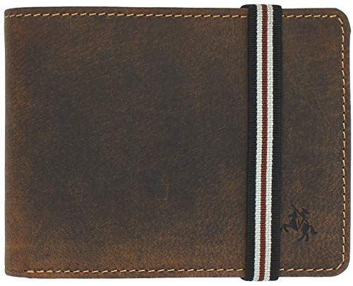 Visconti Leather Wallet with Elastic Closure RFID Blocking and Tap and Go BN3 Oil Tan