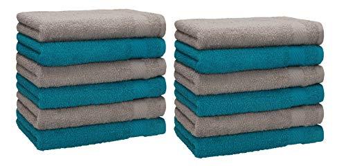 Betz 12 Stück Gästehandtücher Set Palermo Gästetuch 100% Baumwolle Größe 30x50 cm Farbe Petrol - Stone