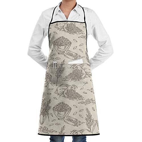 Reisplatte mit Reis und Tüte Reisschürze mit Taschen für Grill BBQ Küche Kochkünstler Malerei Männer und Frauen