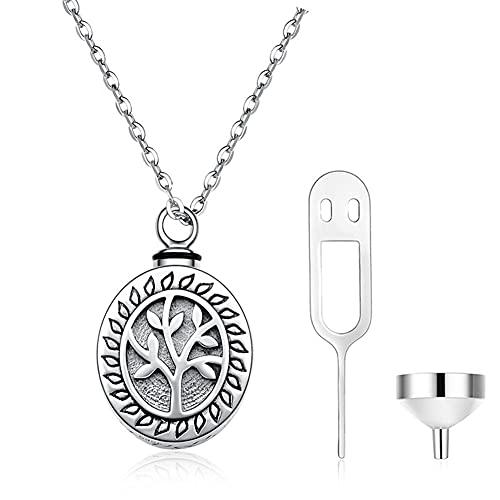 El Collar del árbol de Las Cenizas cremadas de la Vida se Puede Abrir 925 Joyas de Plata esterlina para conmemorar la Cadena de clavícula de 20 Pulgadas de Las Cenizas de Las amadas