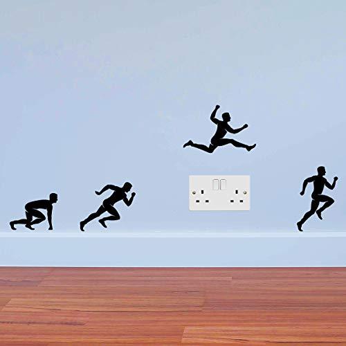 Corredores Saltando Hombres Deporte Etiqueta de la Pared Placa de Toma de Corriente Interruptor de luz Interruptor Etiqueta de la Pared Etiqueta de Vinilo Mural decoración Motivacional