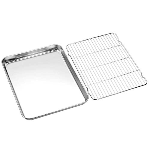 Bakeware - Juego de bandeja de horno antiadherente para hornear con estante para horno tostadora, bandeja de acero inoxidable
