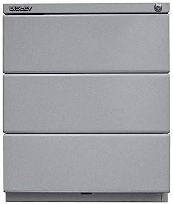 Bisley OBA Caisson à roulettes avec Haut 25 mm, 3 tiroirs universels, 355 Argent, 56,5 x 42 x 51,9 cm