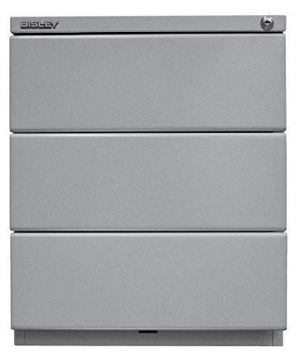 BISLEY Rollcontainer OBA, mit 25 mm Top, 3 Universalschubladen, 355 Silber, 56.5 x 42 x 51.9 cm