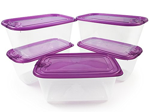 TrainedTo Sans fuites ni fissures, boîtes alimentaires hermétiques - Lot de 5 - Passe à congélateur et au micro-ondes - Idéal pour les repas et déjeuner
