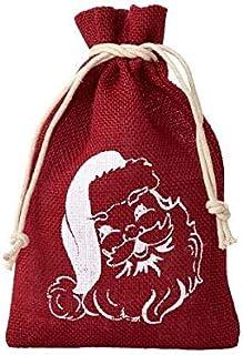 12 bolsitas de yute, bolsas de yute con motivo de papa Noel, tamaño 20x12 cm, bolsa navideña, navidad, reyes, bolsa para regalo, calendario de Adviento (Rojo con estampado blanco de Santa Claus)