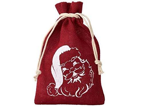 Organzabeutel24 | 12 Jutesäckchen, Jutebeutel mit Weihnachtsmann-Motiv, Größe 20x12 cm, Weihnachtsbeutel, Weihnachten, Geschenkverpackung, Adventskalender (Rot)