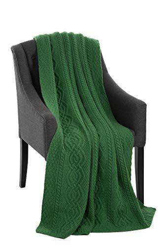 SAOL Luxuriöse Dara 100% Merinowolle Zopfmuster Warme und Weiche Aran Decke in der Natur/Grün/Grau, 69 x 44 Zoll (Grün)