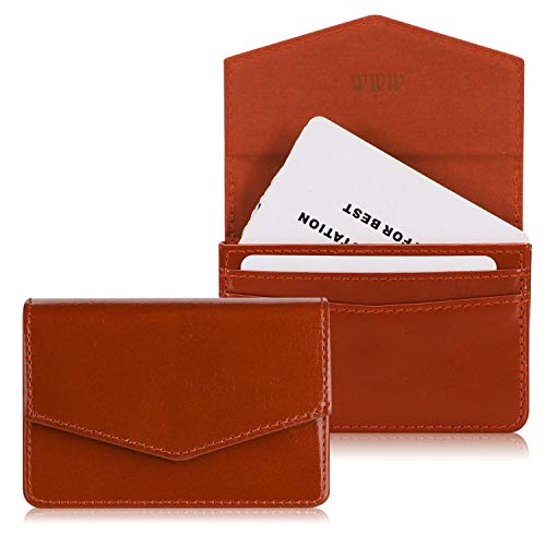 WWW Genuine Leather Business Card Holder Business Card Case with Magnetic Shut for Men & Women, Holds 30 Business Cards Brown