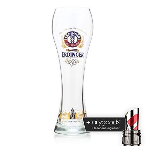Erdinger Stadtsilhouette Weizenbierglas 0,5l Glas/Gläser, Markenglas, Bie NEU + anygoods Flaschenausgiesser