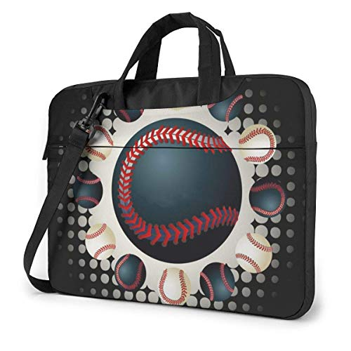 Laptop Tote Bag, Black Baseball Portable Laptop Carrying Bag with Strap Fits 13-15.6in Notebook for Women