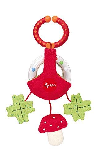 sigikid, Mädchen und Jungen, Anhänger Pilz, Rasselring, Lern und Experimentierspielzeug, Rot/Grün, 41884