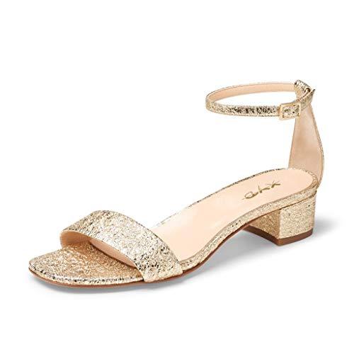 XYD Women Open Toe Strappy Low Block Heel Sandal Pumps Ankle Strap Wedding Dress Shoe Size 11 Gold