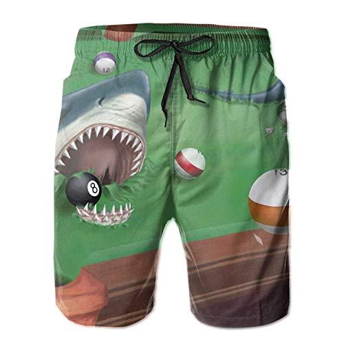 MayBlosom Pantalones cortos de natación de secado rápido para hombre para entrenamiento al aire libre, tiburón en una mesa de billar de billar