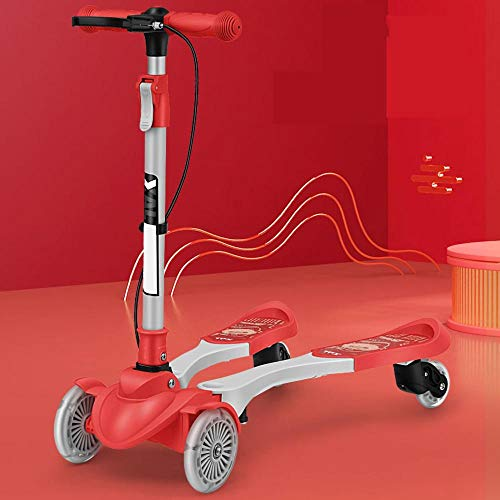 CYGJ Kohlenstoffstahllegierung Einstellbar 4﹘Rad Profi Scooter mit LED Rollen,Rot Faltbar Roller für Kinder für...