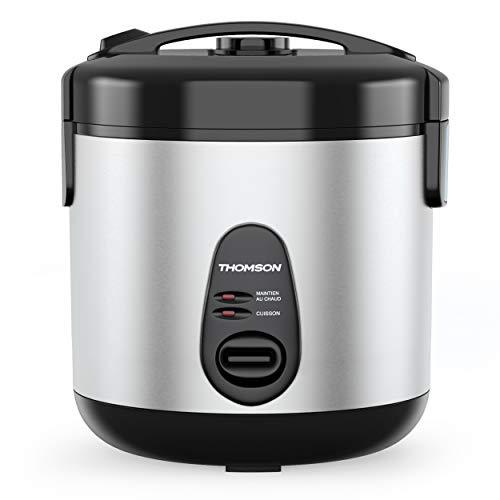 THOMSON Reiskocher Topf (1,8 Liter) für 4 bis 6 Personen - Elektrischer Reiskocher mit Dampfgarer Einsatz zum kochen & warmhalten, Reis Kocher mit 700 Watt, aus hochwertigem Edelstahl, mit Zubehör