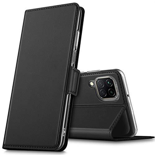 GEEMAI für Huawei P40 Lite Hülle, handyhüllen Flip Hülle Wallet Stylish mit Standfunktion & Magnetisch PU Tasche Schutzhülle passt für Huawei P40 Lite Smartphone, Schwarz