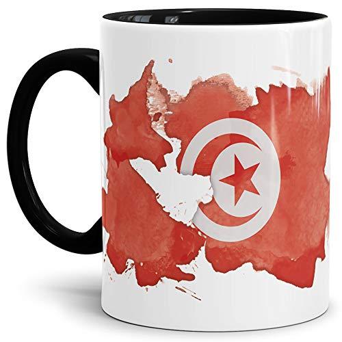 Flaggen-Tasse Tunesien Innen und Henkel Schwarz - Fahne/Länderfarbe/Wasserfarbe/Aquarell/Cup/Tor/Qualität Made in Germany