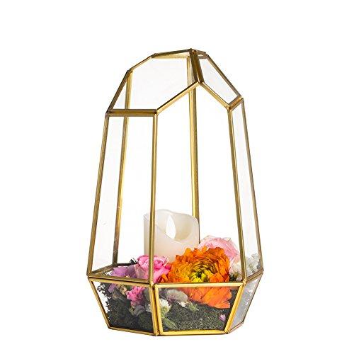 NCYP 9.8inches Glass Terrarium Planter Geometric Decor Centerpiece for Wedding, Irregular Copper Handmade Flower Pot for Succulents Fern Moss (No Plants)
