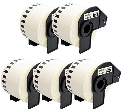 Yellow Yeti 5 Rollos DK-22223 Cintas continuas 50mm x 30,48m Etiquetas compatibles para Brother P-Touch QL-500 QL-550 QL-570 QL-700 QL-710W QL-720NW QL-800 QL-810W QL-820NWB QL-1050 QL-1100 QL-1110NWB