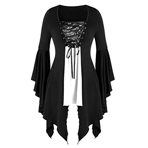 Price comparison product image Aniywn Plus Size Womens Halloween Tops,  Flare Long Sleeve Sequined Lace Up Gothic Costume Tunic Tee Shirt White