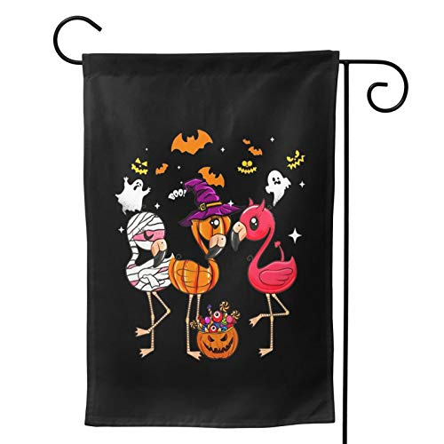 MINIOZE Halloween Flamingo Mummy Pumpkin Themed Welcome Party Outdoor Outside Decorations Ornament Picks Home House Garden Yard Decor Double Sided 12.5 X 18 Small Flag 28 X 40 Jumbo Large
