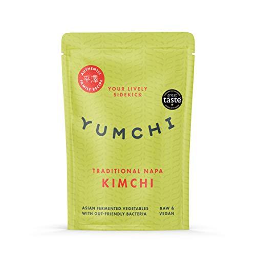 YUMCHI Organisches Traditionelles Chinakohl Kimchi - Würziges asiatisches fermentiertes Gemüse - Roh, unpasteurisiert, vegan - Organisches Kimchi für Suppen, Salate & Wok-Gerichte - 300g (1 Packung)