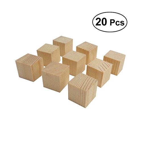 VORCOOL 20 PCS Bricolage Bois Carré Blocs Cube Blocs pour Puzzle Faire Artisanat Projets 2 * 2 * 2 CM