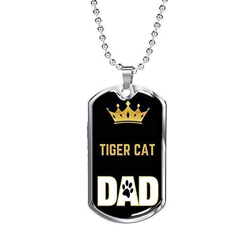 Express Your Love Gifts Colar de presente de pai de gato tigre gato pai colar gravado ouro 18 k corrente de 61 cm
