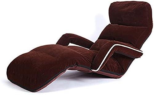 MDBLYJ Verstellbare Faltbare Faule Couch, Boden Stuhlkissen mit Armlehnen Bay Fenstersessel, (Farbe   Dunkelbraun)