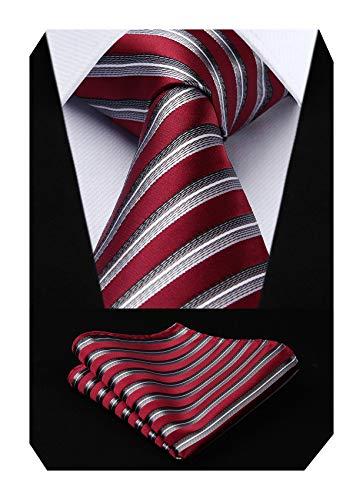 HISDERN Panuelo de lazo a rayas de boda Panuelo de hombre y conjunto de bolsillo de cuadrada Rojo/gris