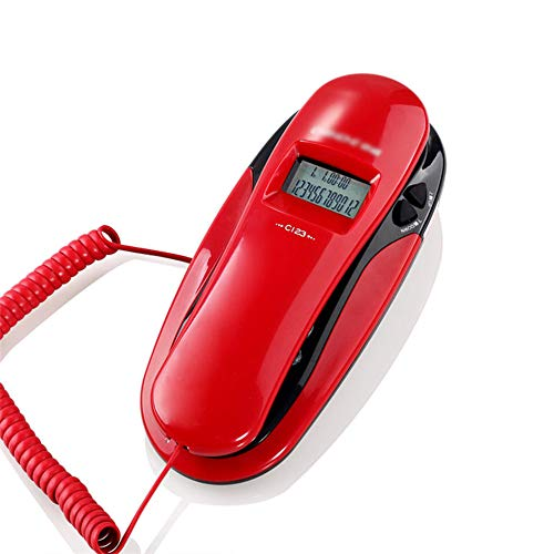 YHZMT Corded Telephone, Wall-Mounted Home Landline Fixed Phones for Seniors ,with Caller ID Display/Large Button/Redial/Hands-Free Function, Can Be Checked for Reset (red/White)